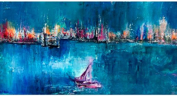 ציור שמן על בד כחול אבסטרקט אומנות מודרנית