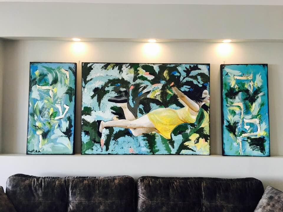 ציור שמן על בד פיגורטיבי אישה אומנות מודרנית