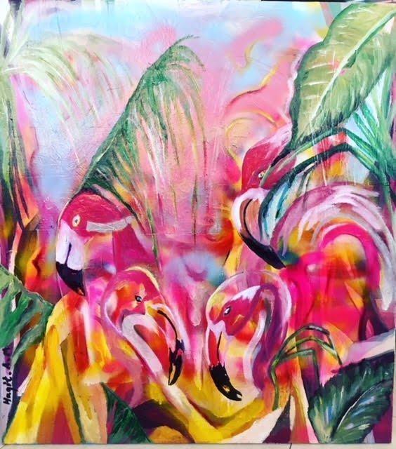 ציור שמן על בד פיגורטיבי ציפור פלמינגו אומנות מודרנית חגית ארגמן
